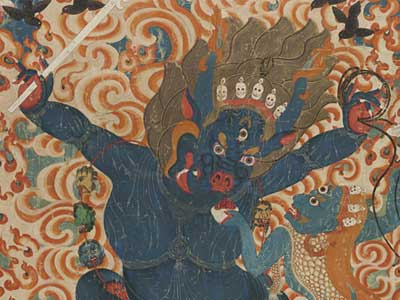 Eastern Tibet, Himalayas, Yama and Yami (detail), c. 1675-1725