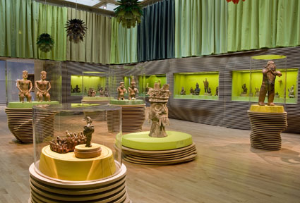 Art of the Ancient Americas galleries, installation designed by Jorge Pardo