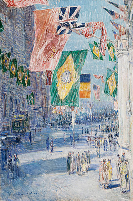 "F. Childe Hassam, ""Avenue of the Allies: Brazil, Belgium,"" 1918, Mr. and Mrs. William Preston Harrison Collection"