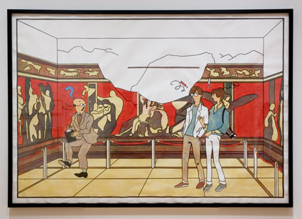 "Lucy McKenzie, ""Cheyney and Eileen Disturb a Historian at Pompeii,"" 2005, The Museum of Contemporary Art, Los Angeles, purchased with funds provided by the Drawings Committee, image courtesy of MOCA"