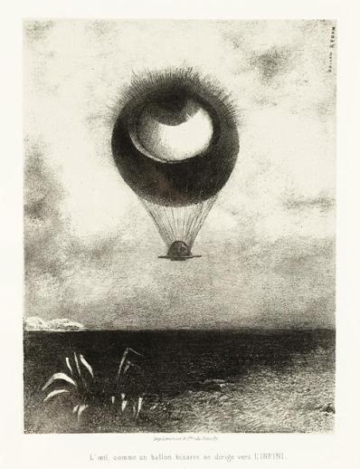 Odilon Redon, À Edgar Poe (L'oeil, comme un ballon bizarre se dirige vers l'infini), 1882, lithograph, Wallis Foundation Fund in memory of Hal B. Wallis (AC1997.14.1.1)