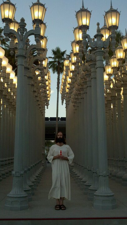 Jesus in front of Urban Light