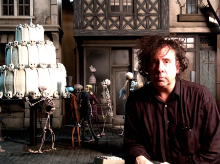 Tim Burton's Corpse Bride, 2005, directed by Tim Burton and Mike Johnson, shown: co-director Tim Burton on the set, photo credit: Derek Frey