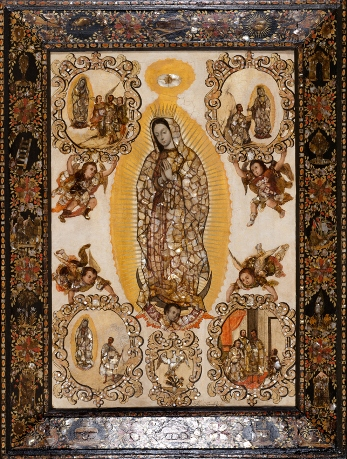 Miguel González, Virgin of Guadalupe and Her Apparitions to Juan Diego, c. 1698, purchased with funds provided by the Bernard and Edith Lewin Collection of Mexican Art Deaccession Fund
