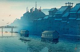Kawase Hasui, Morning at Dotonbori, Osaka, February 14, 1921, gift of Mr. and Mrs. Felix Juda