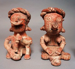 Mexico, Nayarit, Nayarit, Seated Couple Preparing and Eating Food, 200 B.C. - A.D. 500, The Proctor Stafford Collection, purchased with funds provided by Mr. and Mrs. Allan C. Balch