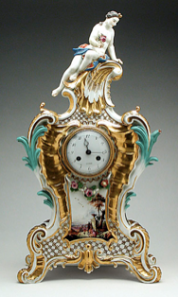 Johann Frederick Ebelein, Meissen Porcelain Manufactory, Mantle Clock and Plinth, circa 1745, gift of Mr. Jack Linsky