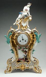 Johann Frederick Ebelein, Meissen Porcelain Manufactory, Mantle Clock and Plinth, circa 1745, gift of Mr. Jack Linsky