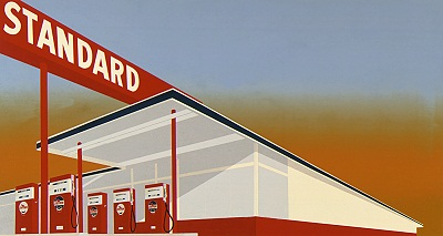 Ed Ruscha, Standard Station, 1966, Museum Acquisition Fund, © 2012 Ed Ruscha. All rights reserved, photo © 2012 Museum Associates/LACMA