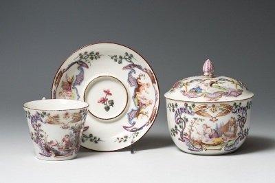 Cup and Saucer, and Sugar Box, c. 1746–1748, Vincennes Porcelain Manufactory, France, 1740–1756, soft-paste porcelain with glaze and enamel