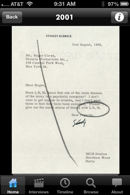 Letter, courtesy of the Stanley Kubrick Archive at the University of the Arts, London.