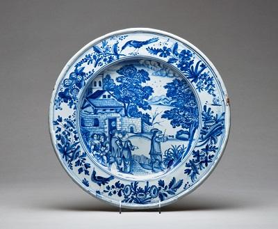 Charger, Nevers, France, c. 1660-1680, Earthenware with tin glaze and enamel (grand feau faïence), The MaryLou Boone Collection