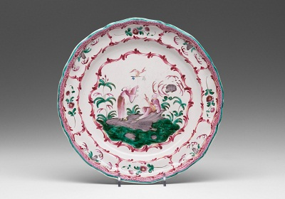 Plate, Varages, France, c. 1780, Earthenware with tin glaze and enamel (grand feau faïence), The MaryLou Boone Collection