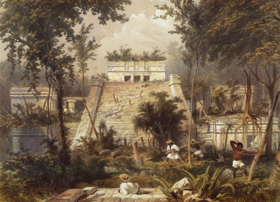 "Frederick Catherwood, the main temple at Tulum, from ""Views of Ancient Monuments,""  1844, via Wikipedia Commons"