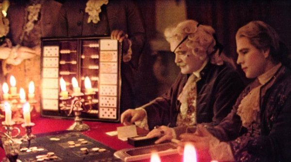 Barry Lyndon, directed by Stanley Kubrick, 1973-75, Barry Lyndon (Ryan O'Neal) and the Chevalier de Balibari (James Magee) at the roulette table. © Warner Bros. Entertainment Inc.