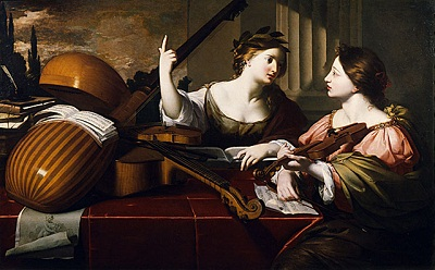 Nicolas Regnier, Divine Inspiration of Music, circa 1640, purchased with funds provided by Mr. and Mrs. Stewart Resnick, Mr. and Mrs. Jo Swerling, Mathilda L. Calnan from the estate of Charles Alexander Loeser, Mr. and Mrs. David Bright, Alexander M. Lewyt, Museum Associates Acquisition Fund, Isaacs Brothers Company, anonymous donor in memory of Mary M. Edmunds, William Randolph Hearst Collection, Mr. and Mrs. Allan C. Balch Collection, and Mr. and Mrs. Allan C. Balch Fund by exchange (82.7)