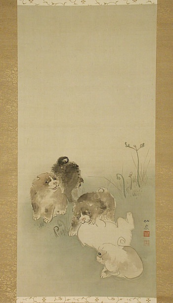 Maruyama Okyo (attributed to), Five Puppies, 18th century, gift of Carl Holmes