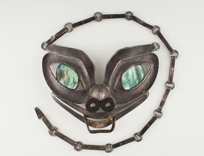 William Spratling, Alaska Mask Necklace, 1949, silver, baleen from either a bowhead or blue whale, Alaskan or pinto abalone, gift of Penny Morrill, McLean, Virginia
