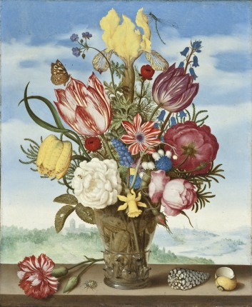 Ambrosius Bosschaert (Holland, Middelburg, 1573-1621), Bouquet of Flowers on a Ledge, Holland, 1619, gift of Mr. and Mrs. Edward W. Carter