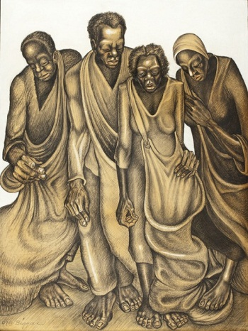 John Anansa Thomas Biggers, Cotton Pickers, 1947, LACMA, purchased with funds provided by Mr. and Mrs. Thomas H. Crawford, Jr. and the Black Art Acquisition Fund