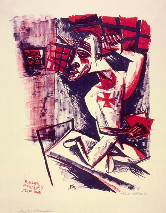 Conrad Felixmüller, Soldier in a Madhouse (Soldat im Irrenhaus), 1918, lithograph printed in red and blue-violet on laid paper, The Robert Gore Rifkind Center for German Expressionist Studies, © Conrad Felixmüller Estate/Artists Rights Society (ARS), New York/VG BILD-KUNST, Bonn