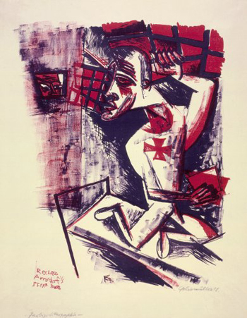 Conrad Felixmüller,Soldier in a Madhouse (Soldat im Irrenhaus), 1918, the Robert Gore Rifkind Center for German Expressionist Studies