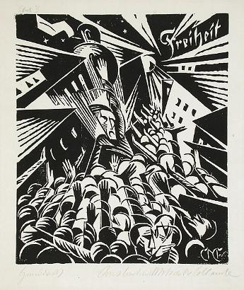 Constantin von Mitschke-Collande, Freiheit (Freedom), 1919, woodcut on laid paper, The Robert Gore Rifkind Center for German Expressionist Studies, © Constantin von Mitschke-Collande Estate