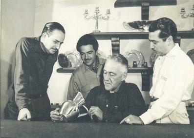 Photo by Juan Guzmán of Héctor Aguilar, Antonio Pineda, William Spratling, and Antonio Castillo, c. 1955. Collection of the Latin American Library, Tulane University