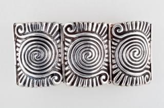 """Frederick Walter Davis, """"Swirl Glyph Cuff Bracelet,"""" c. 1935, silver, gift of Ronald A. Belkin, Long Beach, California"""