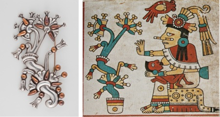 "Left: William Spratling, ""Tree of Life Brooch,"" c. 1938–44, silver and copper. Gift of Ronald A. Belkin, Long Beach, California; Right: ""Xochiquetzal,"" from the ""Codex Fejérváry-Mayer,"" Nahua, Mexico, 1350–1500, World Museum, Liverpool, Great Britain, folio 29, photo © 2013 Museum Associates/LACMA"