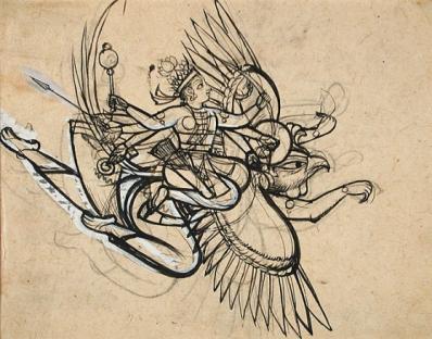 The Hindu God Vishnu Riding on His Mount Garuda, India, Rajasthan, Bundi, c. 1750-1775, gift of Paul F. Walter