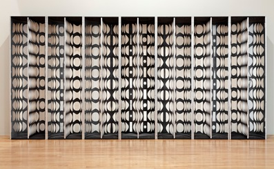 Julio Le Parc, Mural: Virtual Circles (Mural Cercles Virtuelles), 1964–66, purchased with funds provided by Debbie and Mark Attanasio, Jane and Marc Nathanson, Jane and Terry Semel, the Loreen Arbus Foundation, Alyce Woodward Oppenheimer, Janet Dreisen Rappaport and Herb Rappaport and an anonymous donor through the 2013 Collectors Committee
