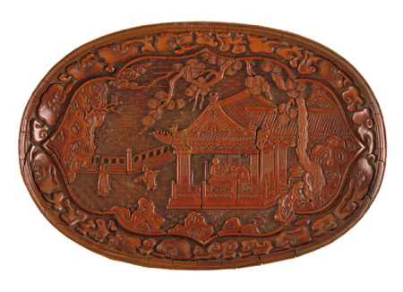 Unknown, Oval Tray (Duoyuan Pan) with Pavilion on a Garden Terrace, Yuan dynasty, 1279–1368, Gift of Mr. and Mrs. John H. Nessley