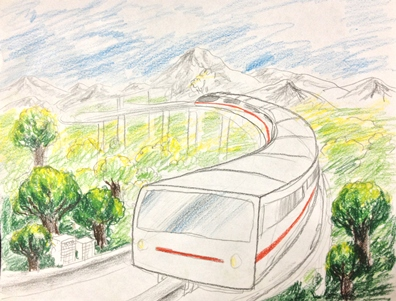Transportation of the future by a student at HeArt Project inspired by 2001: A Space Odyssey