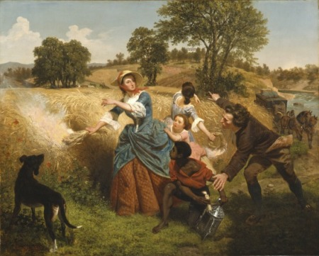Mrs. Schuyler Burning Her Wheat Fields on the Approach of the British, Emanuel Gottlieb Leutze,  United States, 1852 Bicentennial gift of Mr. and Mrs. J. M. Schaaf, Mr. and Mrs. William D. Witherspoon, Mr. and Mrs. Charles C. Shoemaker, and Jo Ann and Julian Ganz, Jr.