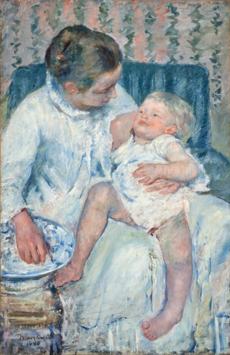 Mother About to Wash Her Sleepy Child, Mary Cassatt, United States, 1880, Mrs. Fred Hathaway Bixby Bequest