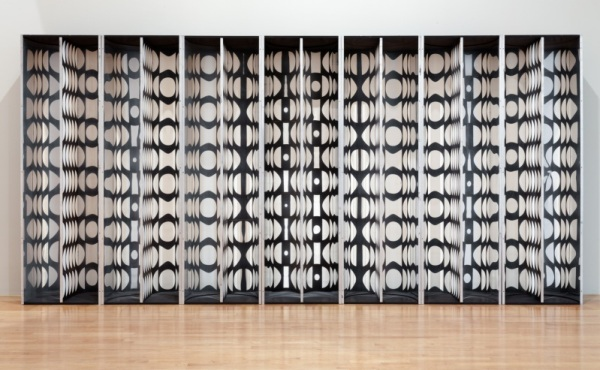 Julio Le Parc, Mural: Virtual Circles, 1964-1966, wood, aluminum, stainless steel, and polished metal, purchased with funds provided by Debbie and Mark Attanasio, Jane and Marc Nathanson, Jane and Terry Semel, The Loreen Arbus Foundation, Janet Dreisen Rappaport and Herb Rappaport, an anonymous donor, Alyce Woodward Oppenheimer, and the Bernard and Edith Lewin Collection of Mexican Art Deaccession Fund through the 2013 Collectors Committee
