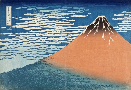 Katsushika Hokusai (Japan, 1760-1849), South Wind, Clear Dawn, circa 1830-31, Color woodblock print, Image and Paper: 10 x 14 3/8 in. (25.4 x 36.5 cm), Gift of the Frederick R. Weisman Company, Photo © 2013 Museum Associates/LACMA
