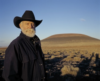 James Turrell in front of Roden Crater Project at sunset, October 2001, Photo © Florian Holzherr