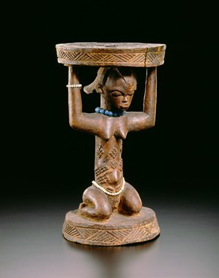 Caryatid Stool, Democratic Republic of the Congo, Luba Peoples, 19th Century, Wood, glass beads, Royals Museum for Central Africa, RG 22725, Photo R. Asselberghs, RMCA, Tervuren ©