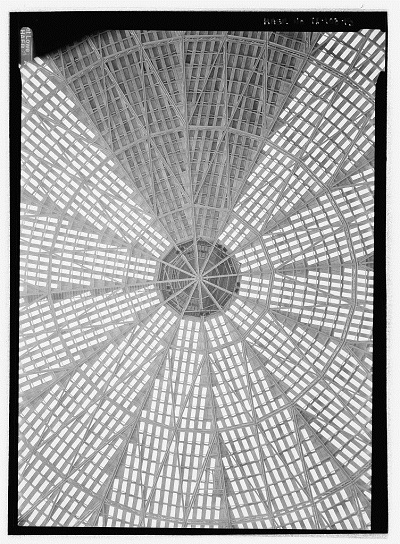 Jet Lowe, Lamella Dome Framing Detail. Note Catwalk at 12 O'Clock and Suspended Pentagonal Light Right Gondola. Also Note Compression Ring at Crown of Dome.—Houston Astrodome, 8400 Kirby drive, Houston, Harris County, Texas, Library of Congress, Prints and Photographs Division, HAER TX-108-15