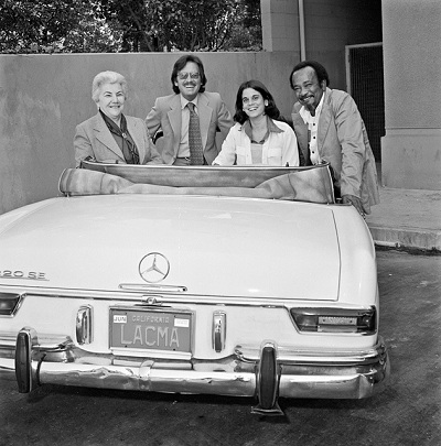 Unknown Betty Asher, Maurice Tuchman, Stephanie Barron, and Cecil Fergerson in Tuchman's Mercedes, December 1977 United States Black and white photograph Los Angeles County Museum of Art Photography Archives. Photo © 2008 Museum Associates/LACMA. Archives Documentary Photos.010 LACMA Archives Photographs