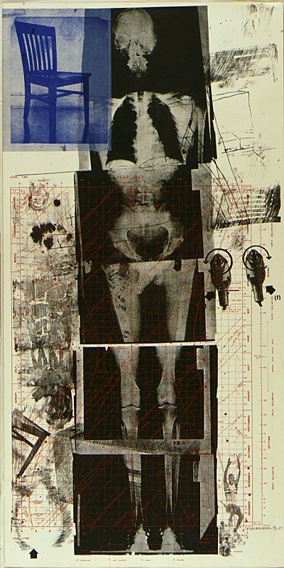 "Robert Rauschenberg's ""Booster"" with the area of color discrepancy inset with red."