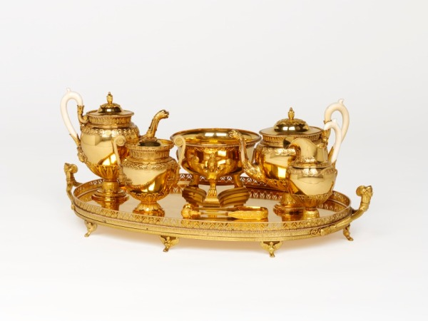 Johann Wilhelm Keibel, Tea and Coffee Service, 1825, long-term loan from the Rosalinde and Arthur Gilbert Collection on loan to the Victoria and Albert Museum, London (L.2010.9.38.1–.7)