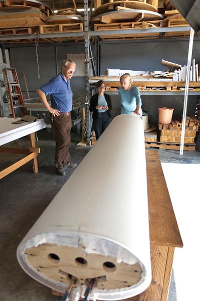 Curator of Modern Art Carol S. Eliel (center) discusses the fabrication process with artist Helen Pashgian (right) and her fabricator. Photo by Peter Brenner
