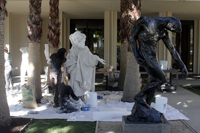 Liz Glynn's performance of The Myth of Singularity at LACMA in January 2013. The piece was based on a work by Auguste Rodin at the museum.