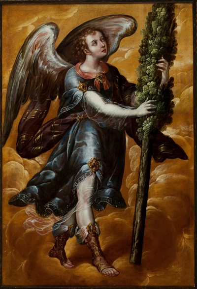 Juan Correa, Mexico, Angel Carrying a Cypress (Ángel portando un ciprés), c.irca 1670-–1690, oil on canvas, 160 × 107.95 × 2.54 cm. Los Angeles County Museum of Art, oil on canvas, 160 x 107.95 cm