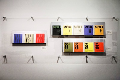 The arrangement of VOU covers in the exhibition.