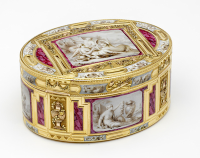 Jean Fremin (gold box) and Claude Bornet (enamel), Snuffbox with Putti and Nymphs, 1768–69, France, long-term loan from The Rosalinde and Arthur Gilbert Collection on loan to the Victoria and Albert Museum, London