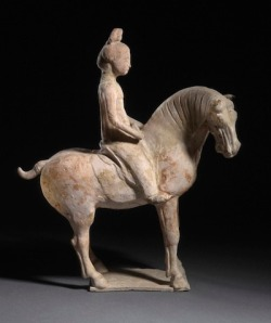 China, Tang dynasty, , Funerary Sculpture of a Horse and Rider, 618–906, the Phil Berg Collection